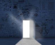 Matheformeln der geöffneten Tür stockbilder