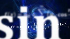 Mathegleichungen, die im Abstand fliegen und verschwinden stockbild