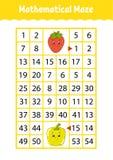 Mathelabyrinth Spiel für Kinder Lustiges Labyrinth Sich entwickelndes Arbeitsblatt der Ausbildung Tätigkeitsseite Puzzlespiel für lizenzfreie abbildung