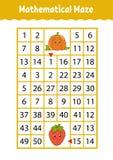 Mathelabyrinth Spiel f?r Kinder Lustiges Labyrinth Sich entwickelndes Arbeitsblatt der Ausbildung T?tigkeitsseite Puzzlespiel f?r stock abbildung