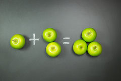 Mathematic or education concept. Simple mathematic using green apples on chalkboard Royalty Free Stock Images