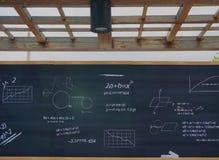 Mathematic formulas on a blackboard at school Stock Photo