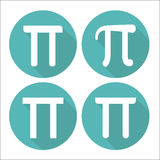 Mathematic Pi icon flat set. Vector illustration Royalty Free Stock Photography