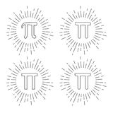 Mathematic Pi icon flat set. Vector illustration Stock Photography