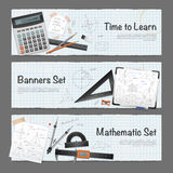 Mathematic Science Banners Set. Science mathematic horizontal banners set with stationery measuring equipment calculator and written solutions vector Stock Images