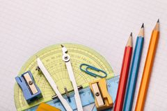 Mathematical accessories. Math mathematical paper above accessories accuracy Royalty Free Stock Photo