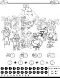 Mathematical activity for coloring. Black and White Cartoon Illustration of Educational Mathematical Activity Game for Children with Pirate Characters Coloring Royalty Free Stock Photo