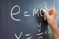 Mathematical assignment on a chalkboard Royalty Free Stock Photo