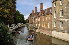 The Mathematical Bridge. Ans d people punting Royalty Free Stock Photography