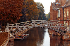 Mathematical bridge, Cambridge. The mathematical bridge over the river Cam at Cambridge. This famous wooden bridge at Queens College was originally designed and Stock Image
