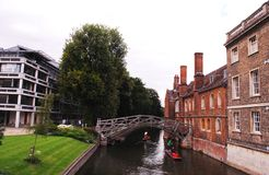 Mathematical Bridge,a wooden footbridge in the southwest of central Cambridge, United Kingdom. royalty free stock photo