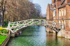Mathematical bridge at the Queens College in Cambridge. United Kingdom Stock Images