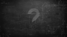 Mathematical calculations against a question mark