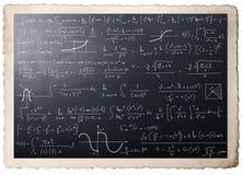 Mathematical calculations on blackboard. Complex mathematical calculations on blackboard stock image