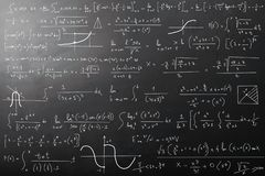 Mathematical calculations on blackboard. Complex mathematical calculations on blackboard royalty free stock photography