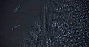 Mathematical calculations in chalk floating over a chalkboard background