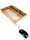 Mathematical calculator abacus with computer mouse Stock Image