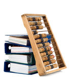 Mathematical calculator abacus with papers Stock Image