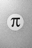 The mathematical constant Pi. Depicted as a greek letter in the centre of circles made up of its digits (3.1415926 Stock Image