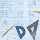 Mathematical desk with formulas and equipment. Background illustration Stock Photo