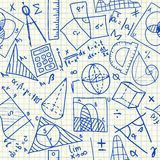 Mathematical doodles seamless pattern Royalty Free Stock Image