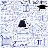 Mathematical educational vector seamless pattern with geometry figures, plots, equations, words Back to school Royalty Free Stock Images