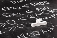 Mathematical equation. Written on chalkboard royalty free stock photography