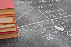Mathematical equation. Chalkboard with book royalty free stock image