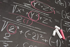Mathematical equation. Written on chalkboard royalty free stock images