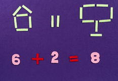 Mathematical equation. For preschool from a teacher royalty free stock image