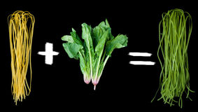 Mathematical equation how to get green pasta. Healthy food concept: mathematical equation how to get green pasta - raw italian pasta with its natural vegetable royalty free stock image
