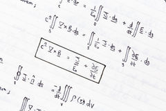Mathematical equations. Of heat conduction and thermodynamics Royalty Free Stock Photo