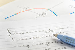 Mathematical Equations on Lined Paper royalty free stock photography
