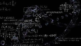 Mathematical equations moving against black background