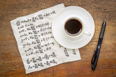 Mathematical equations on napkin Royalty Free Stock Images