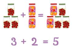 Mathematical examples in addition to fun glass jars. Fruit and berry compote and pickled tomatoes. Stock Image