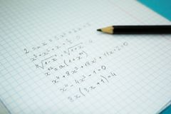 Mathematical examples and calculations in a notebook for lectures.  royalty free stock images