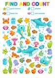 Mathematical exercises for the study of numbers. find and calculate a book for printing in a kindergarten and a preschool institut. Vector printable workshat Royalty Free Stock Photos