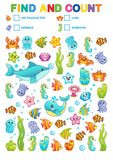 Mathematical exercises for the study of numbers. find and calculate a book for printing in a kindergarten and a preschool institut. Vector printable workshat Stock Photography