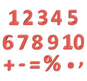 Mathematical figures with the effect of 3D volume. Vector illustration Red color Threedimensional and Three-dimensional object 3-dimensional signs Royalty Free Stock Photo