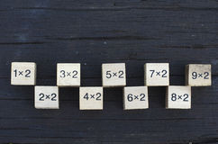 Mathematical formula 1x2 cube in wooden background.  Stock Photos