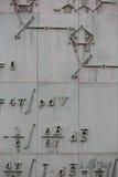 Mathematical formula on a facade of a building in Warsaw,. Detail of a mathematical formula on a facade of a building in Warsaw, Poland Stock Image