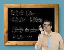 Mathematical formula genius nerd geek easy resolve. Positive gesture Royalty Free Stock Photo