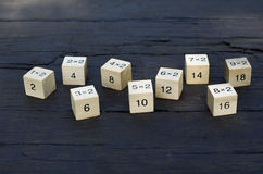 Mathematical formula 1x1 cube in wooden background Stock Image