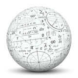 Mathematical formulary imprints on a white Sphere. Mathematical formula imprint on a white Ball. Useful for advertising and tutoring, teachers and students vector illustration