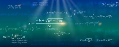 Mathematical formulas. Abstract background with Math equations floating on space. Pattern for cover, presentation. Leaflets. Vector 3D illustration. Concept of royalty free illustration