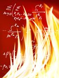 Mathematical formulas against fire background. Image of mathematical formulas against fire background Stock Image