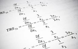 Mathematical formulas and calculations. Math education concept. Mathematical formulas and calculations in university textbook. Math education concept royalty free stock photos