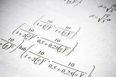 Mathematical formulas and calculations. Math education concept. Royalty Free Stock Image