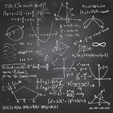Mathematical formulas and drawings on a chalkboard Royalty Free Stock Image